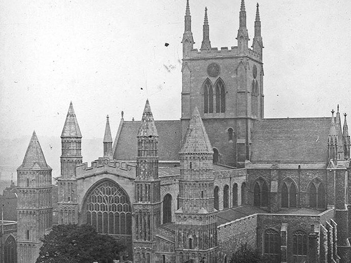 Black and white image of Rochester Cathedral