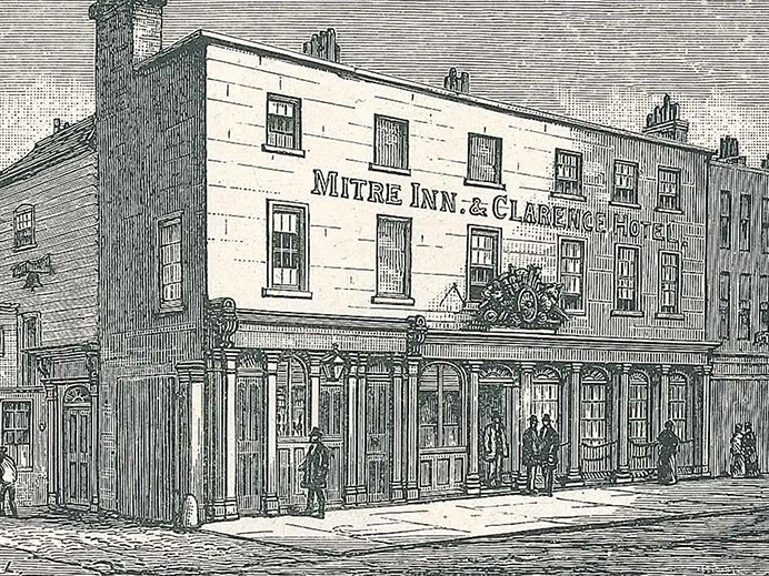 Black and white image of the Mitre Inn