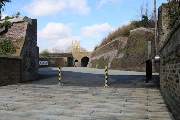 Barrier road and pedestrian entrance into Fort Amherst