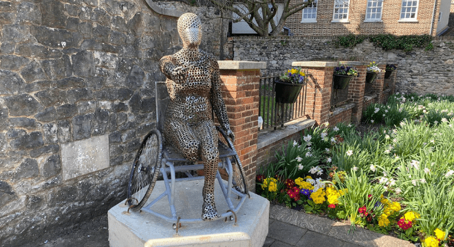 A statue has been erected as part of the arts project.
