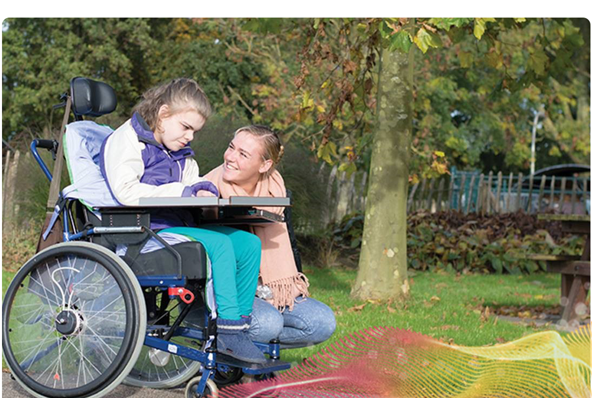 Wheelchair user and carer out and about