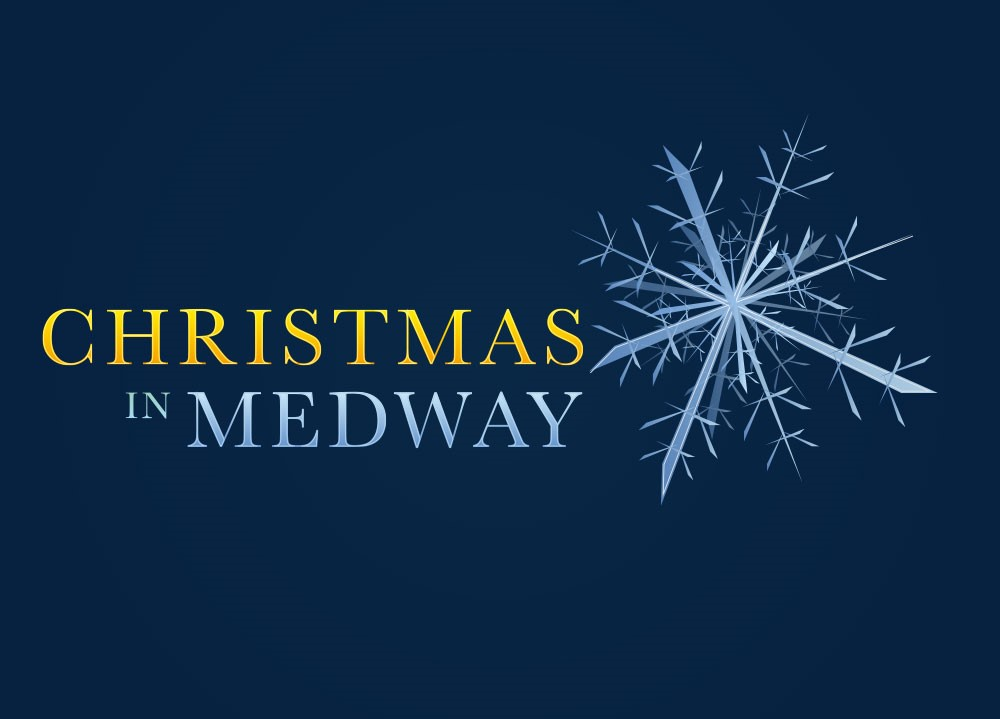 Christmas in Medway logo. Text with dark blue background and silver star.