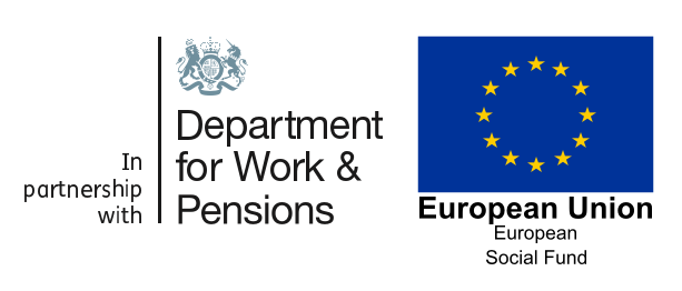 Department for Work and Pensions and European Union logo