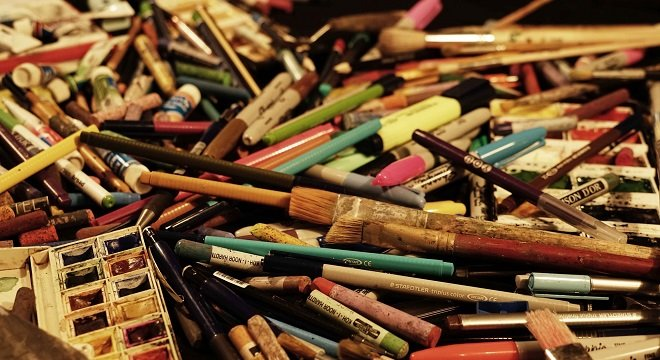 Pencils and art supplies