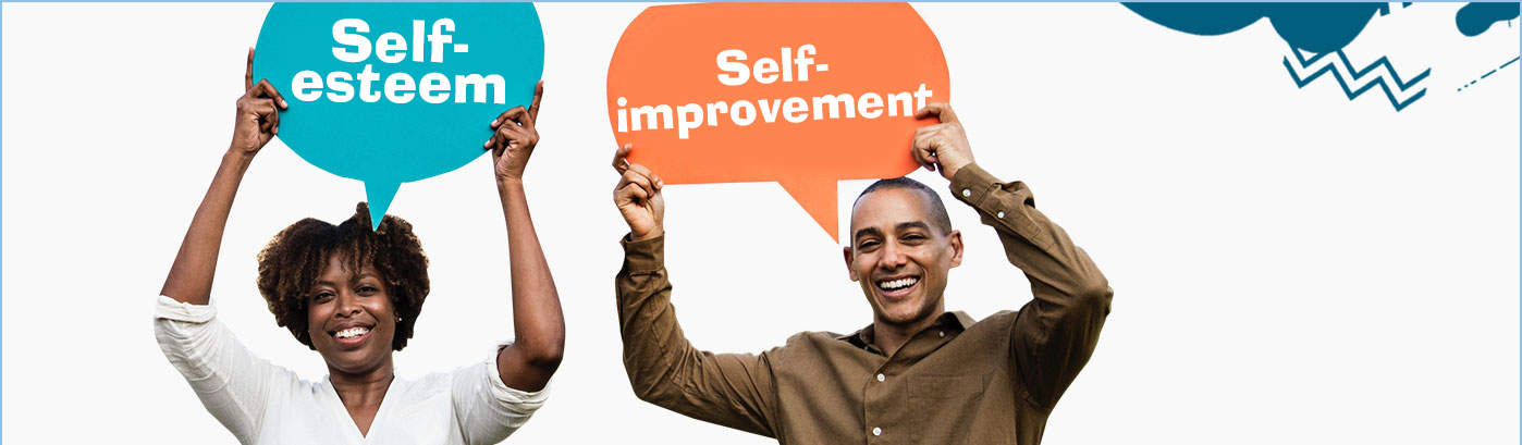 Man and woman holding up signs that say self-esteem and self-improvement