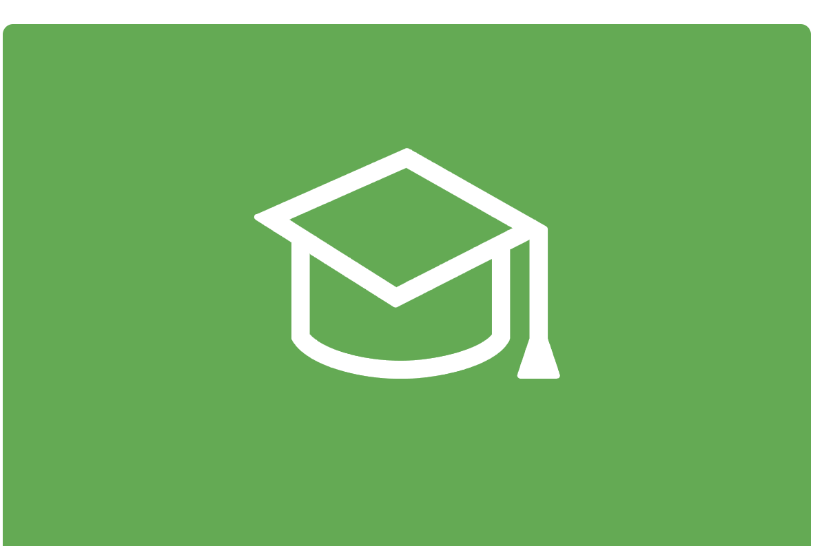Green background with white outline of graduation hat