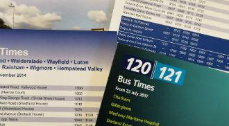 A collection of bus timetables.