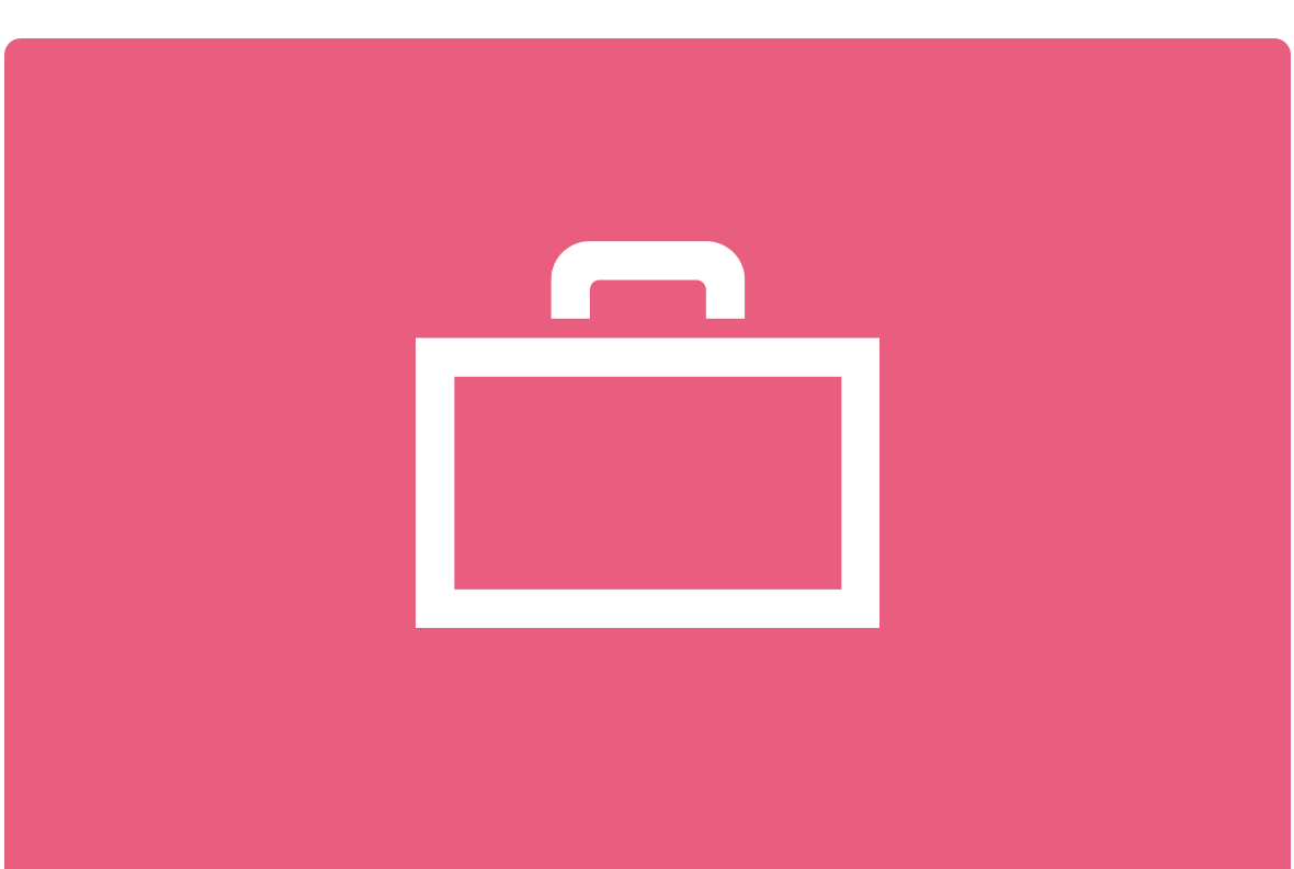 Pink background and white outline of briefcase