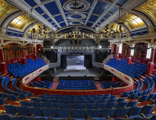 The Central Theatre Chatham, view of empty stage from the back of the theatre