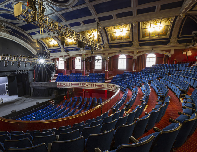 The Central Theatre Chatham, side view of empty theatre seats and stage